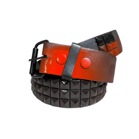 Men Womens 3-row Metal Pyramid Studded Leather Belt Cool Random Belts - Red Spray Paint Design On Black Belt / L Red Studded Leather