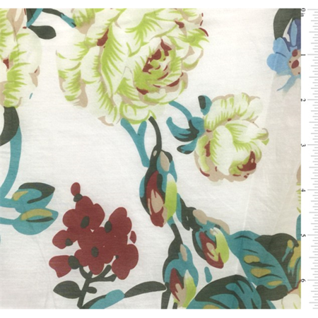 White Multi Floral Silk Voile, Fabric By the Yard