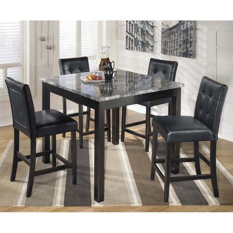 Ashley Furniture Maysville 5 Piece Square Counter Table Set In Black Walmart Com Walmart Com