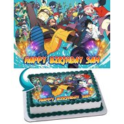 Naruto Edible Cake Topper Personalized Edible Cake Topper Personalized Birthday 1/2 Size Sheet Decoration Party Birthday Sugar Frosting Transfer Fondant Image