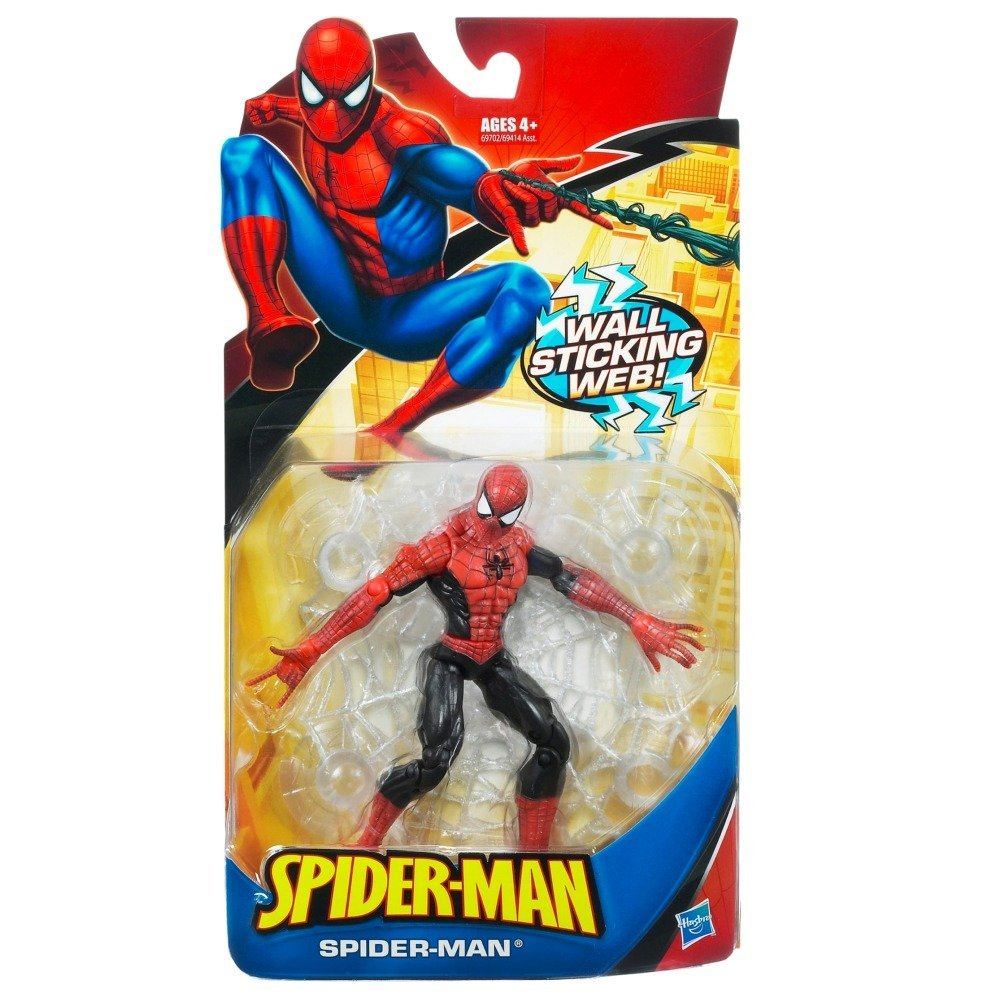 Spider-Man Trilogy: Classic Heroes Red & Black Spider-Man with Wall Sticking Web Action Figure By Hasbro Ship... by