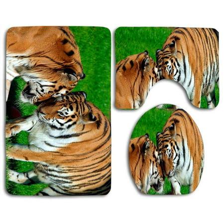 Chaplle Amur Tigers 3 Piece Bathroom Rugs Set Bath Rug