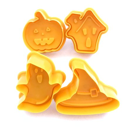 Jeobest Cookie Mold Press Cutter - 4PCS Cookie Stamp Biscuit Mold 3D Cookie Plunger Cutter DIY Baking Mould Halloween Cookie Cutters MZ - Halloween Baking Accessories