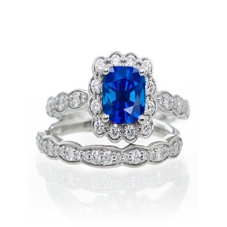 2 Carat Princess Cut Sapphire and Diamond Wedding Ring set in 14k White Gold affordable sapphire and diamond engagement