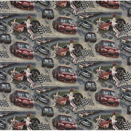 Designer Fabrics A012 54 inch Wide , Racing Cars, Pit Crew, Finish Checkered Flag, Race Track, Themed Tapestry Upholstery