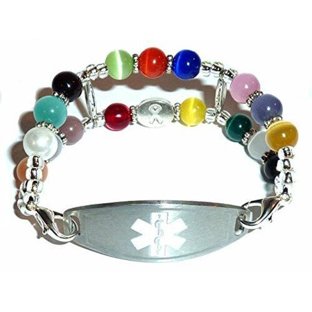 Stylish Medical Alert Bracelets – Double Multi Medical ID Replacement Band by Hidden Hollow Beads - Cancer Awareness Medical ID Band