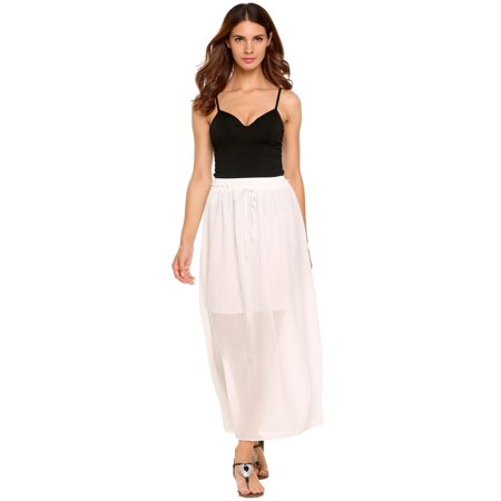 Women Solid Summer Beach Chiffon Maxi Long Skirt with Drawstring RllYE