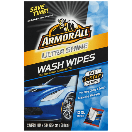 Armor All Ultra Shine Wash Wipes, 12 count, Car Wash