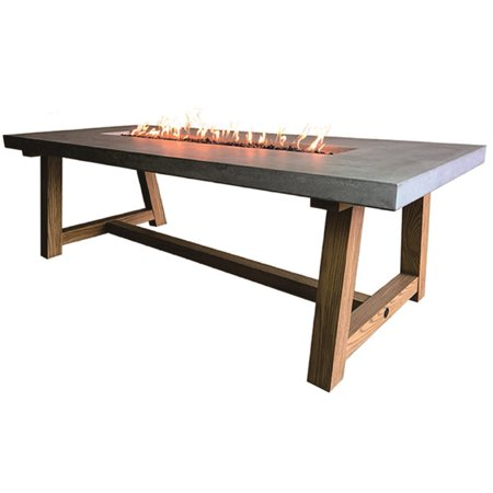 Image of Elementi Outdoor Workshop Dining Fire Pit Table 82 x 40 Inches Grey Durable Fire Bowl Glass Reinforced Concrete Fire Table Natural Gas Patio Fire Place Includes Burner and Lava Rock