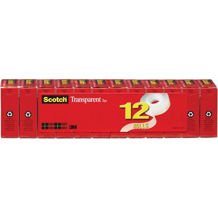 Scotch Transparent Tape 12 Pack, 3/4 in. x 1000 in., 12 Boxes/Pack