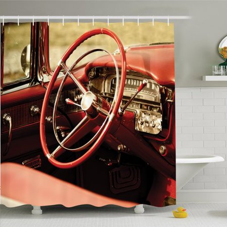 Ambesonne Vintage Antique Classic Car Shower Curtain Set