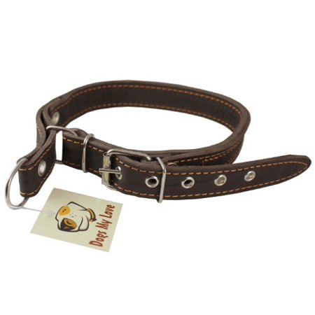 Martingale High Quality Genuine Brown Double Ply Leather Dog Collar Choker Medium to Large Fits 17.5