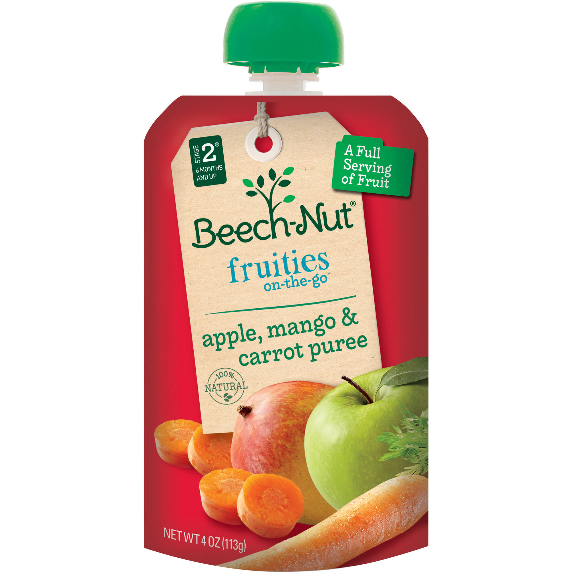 Beech-Nut Pouch Stage 2 Fruities On-the-Go Apple Mango & Carrot Puree, 4 oz, (Pack of 16)