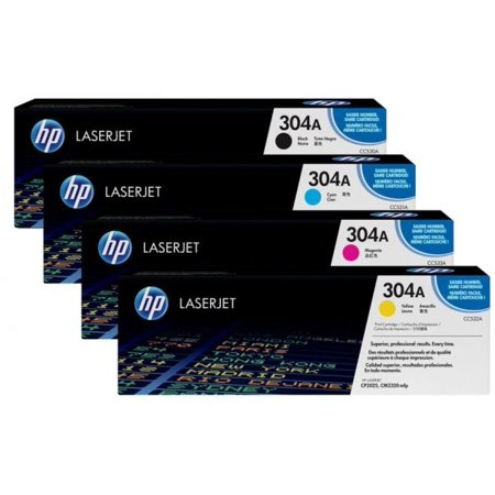 HP 304A TONER SET CC530A CC531A CC532A CC533A FOR CM2320fxi, CM2320n, CM2320nf, CP2025, CP2025dn, CP2025n, CP2025x PRINTER (Hp Cc532a Yellow Toner)