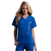 Med Couture Women's Classic Signature V-Neck Solid Scrub Top XX-Large Navy/Apple