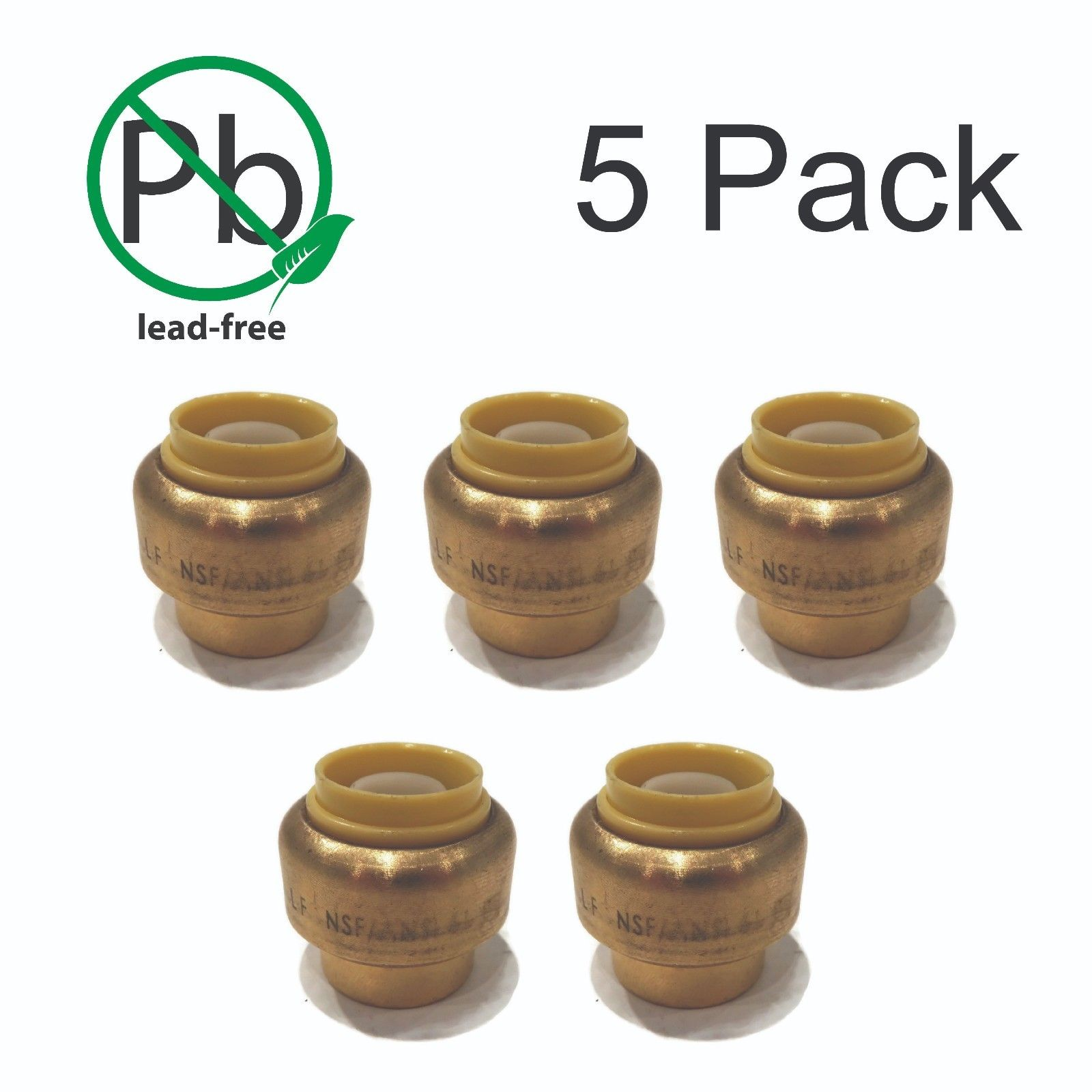 "(5) 1/2"" SharkBite Style Push to Connect LEAD FREE BRASS CAPS Plumbing Fitting"