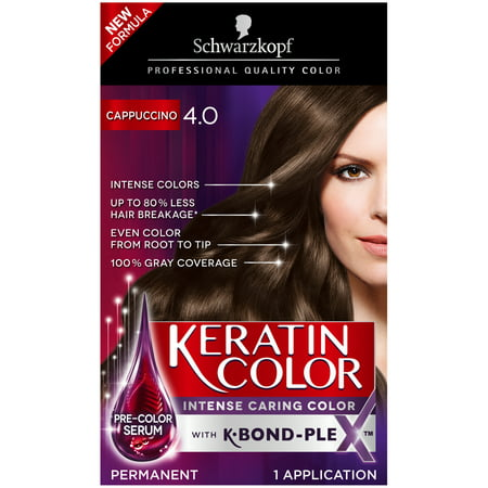 Schwarzkopf Keratin Color Anti-Age Hair Color Cream, 4.0 Cappuccino ...