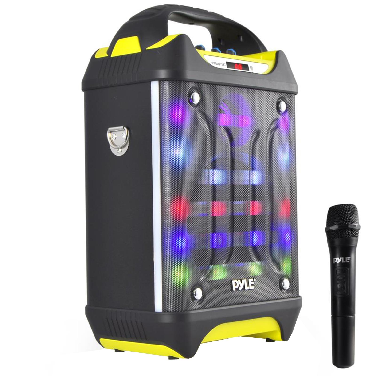 Portable BT Karaoke Speaker System, Flashing DJ Lights, Microphone, Recording Ability, MP3/USB/SD/FM Radio