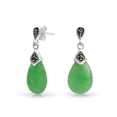Dyed Green Jade Marcasite Pear Shaped Teardrop Dangle Stud Earrings For Women 925 Sterling Silver