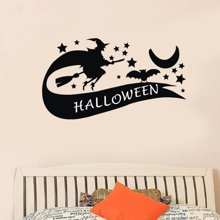 Halloween Witch Background Wall Sticker Window Home Decoration Decal Decor - Windows Halloween Backgrounds