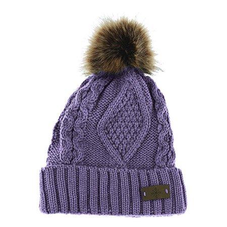95aa55ecde0e9 Angela   William - Women s Fleece Lined Knitted Slouchy Faux Fur Pom Pom  Cable Beanie Cap Hat - Walmart.com