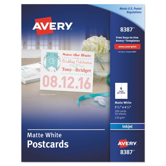 Avery postcards for inkjet printers 4 14 x 5 12 matte white 4 avery postcards for inkjet printers 4 14 x 5 12 matte white 4sheet 200box walmart saigontimesfo