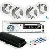 Pyle PLCDBT85MRW - Bluetooth Marine Stereo Radio Receiver & Waterproof Speaker Kit, Hands-Free Talking, CD Player, MP3/USB/SD Readers, AM/FM Radio, (4) 6.5'' Speakers