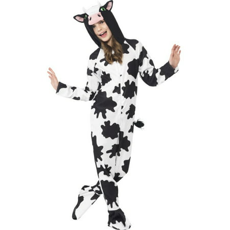 Girls All In One Farm Animal Cow Zip Up Footie Costume With Hood - Girl Animal Costumes