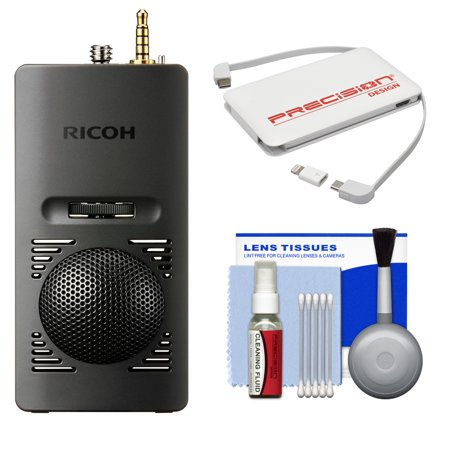 Ricoh Ta 1 3D 360 Degree Microphone For Theta V Camera With Portable Charger   Cleaning Kit