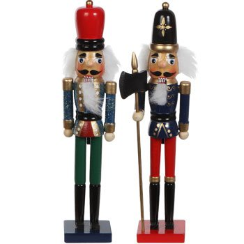 Hand Painted Wood 9 Inch Soldier Nutcracker Assortment (Set of 6)
