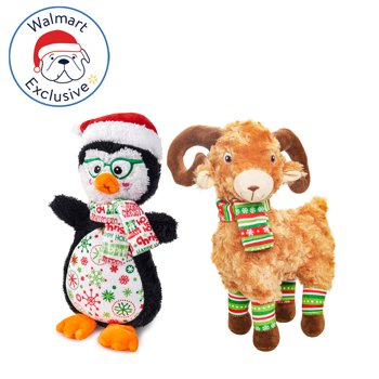 2-Pack Holiday Time Plush Bighorn & Penguin Dog Toy