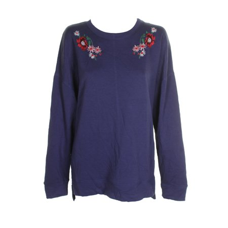 Carbon Copy Juniors Navy Floral Embroidered Sweatshirt L (Sweatshirt Embroidered Top)