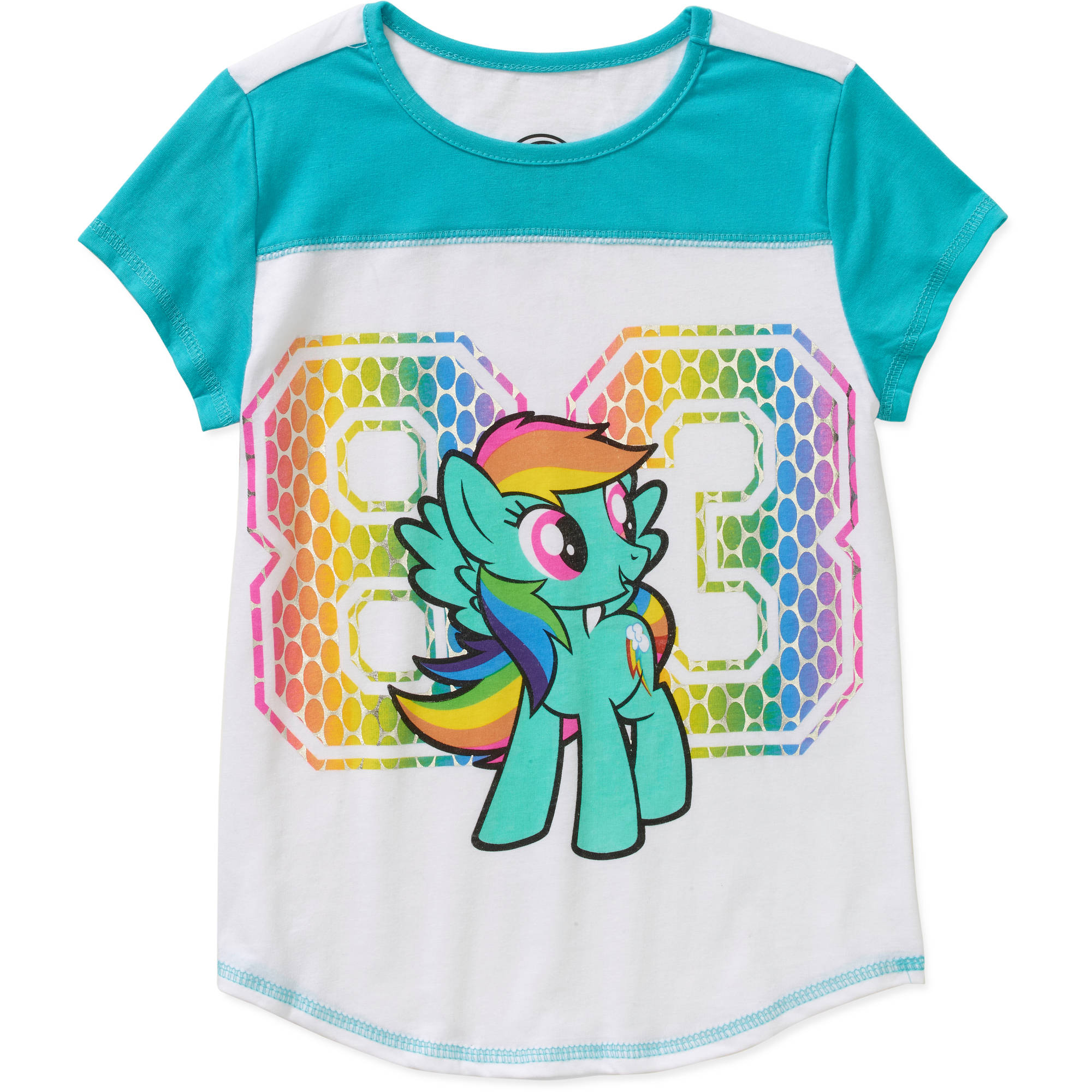 My Little Pony Rainbow Dash 83 Colorblocked Graphic Tee with Front Yoke