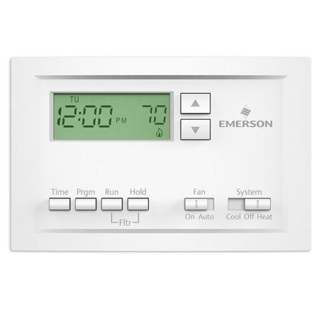Emerson P210 Single Stage 5-1-1 Day Programmable Thermostat, Compatible* with most single stage heating, cooling and heat pump (without aux) systems..., By Emerson Thermostats Ship from US