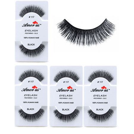 LWS LA Wholesale Store  3 Pairs AmorUs 100% Human Hair False Long Eyelashes # 117 compare Red Cherry