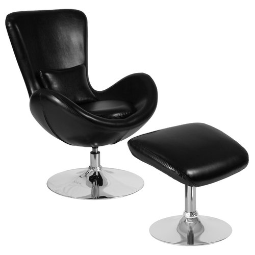 Orren Ellis Palisades Leather Guest Chair with Ottoman