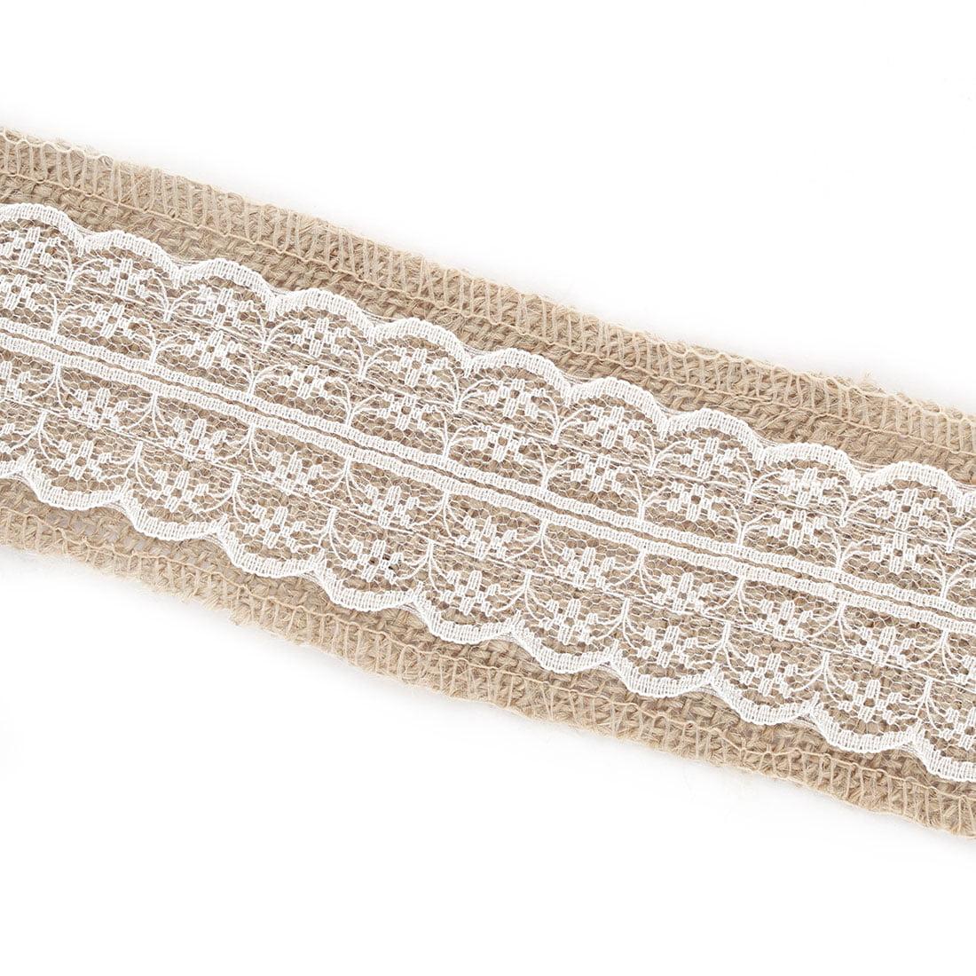 Wedding Burlap Handcraft Gift Packing Belt Ribbon Roll Decor White 4.4 Yards - image 2 of 5