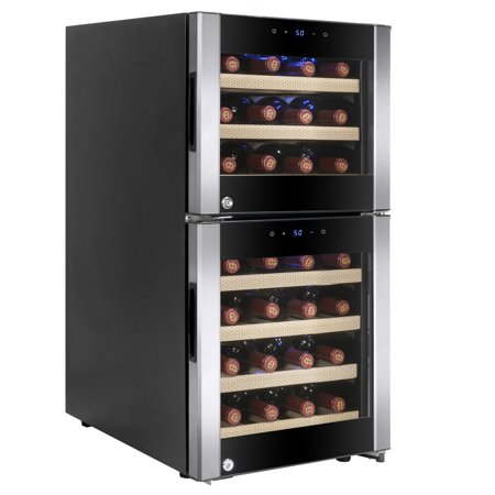- AKDY 33 Bottles Dual Zone LED Display Touch Control Freestanding Electric Wine Cooler Compressor