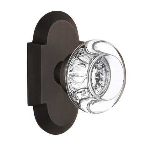 Nostalgic Warehouse Round Clear Crystal Glass Single Dummy Door Knob with Cottage Plate