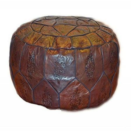 Egyptian Morrocan Handmade Genuine Leather Ottoman Pouf Xl  Dark Brown