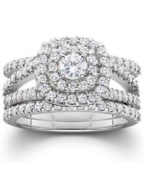 1 4ct Diamond Engagement Cushion Halo Wedding Ring Trio Set 10k White Gold