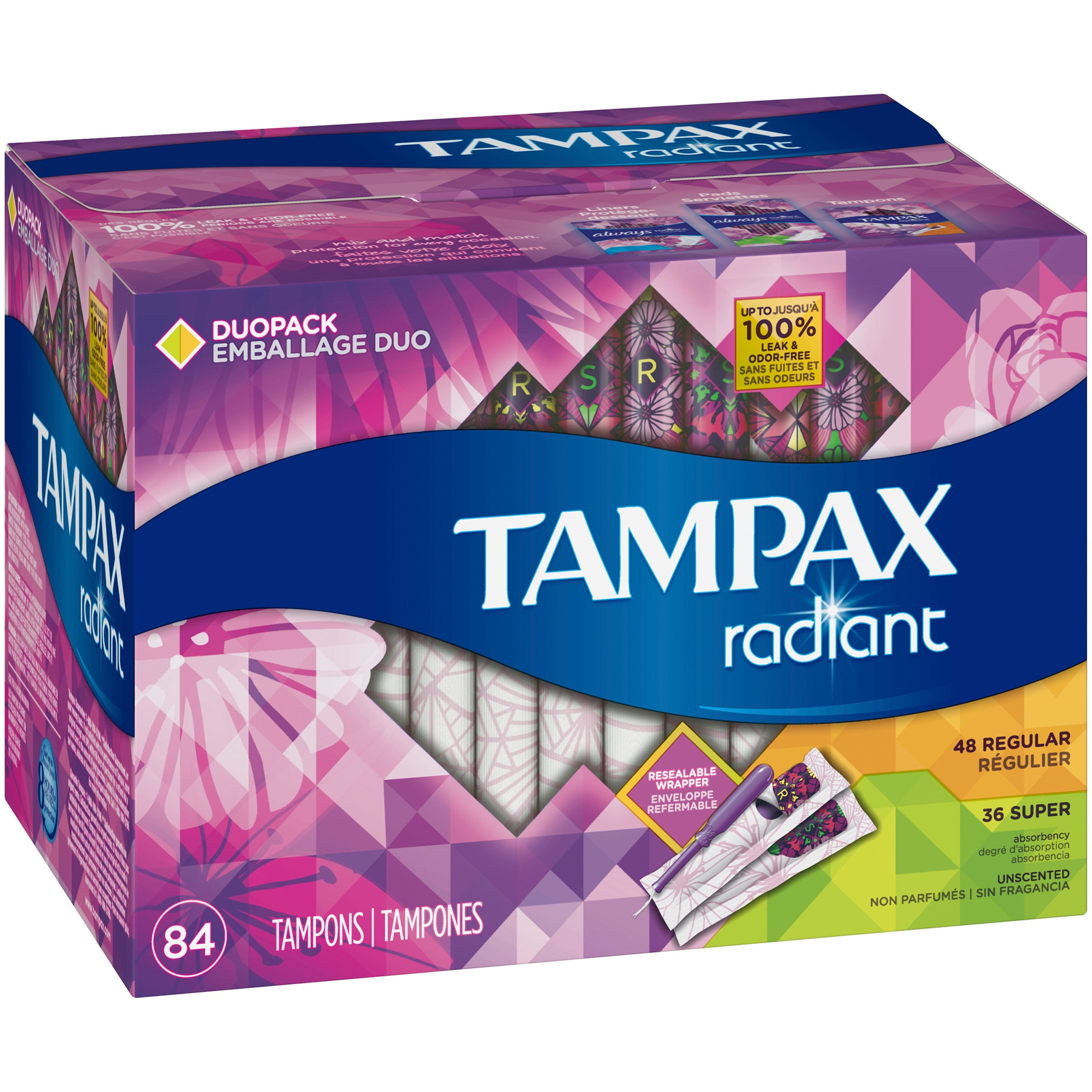 Tampax Radiant Duopack Regular/Super Plastic Unscented Tampons 84 ct Box