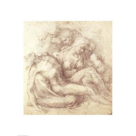 Figures Study for The Lamentation Over The Dead Christ 1530 Poster Print by Michelangelo Buonarroti - 18 x 24 in. - image 1 de 1