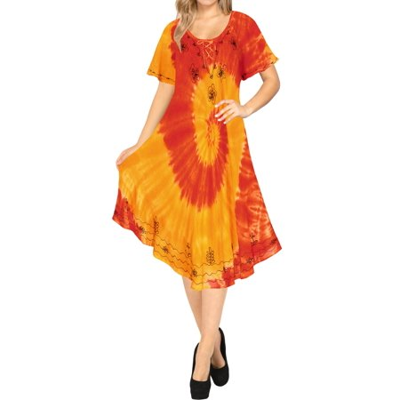 8201ea167d La Leela Hand Tie Dye Women s Caftan Short Dresses Cover up Beach wear  Tunic Swimsuit Plus Size Party Evening Kaftan Blouse  Maxi Top Rayon  Embroidered ...
