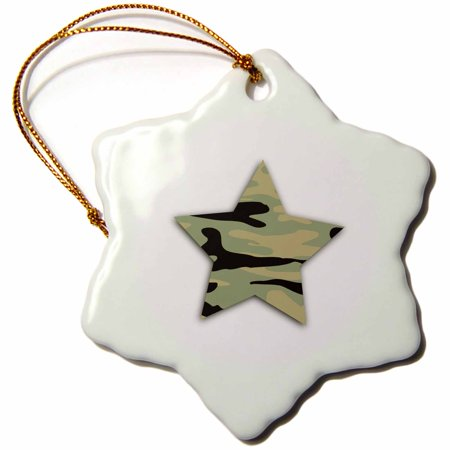 3dRose Green Camo Star - khaki army camouflage pattern - military soldier - Snowflake Ornament, 3-inch - Camo Christmas Ornaments
