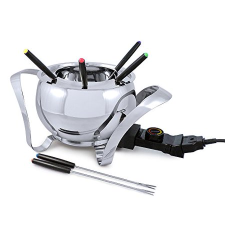 Swissmar Montreux 9 Piece Electric Fondue Set, Stainless Steel ()