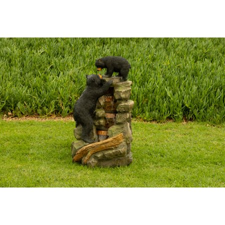 Alpine Mom and Bear Cub Climbing Waterfall Fountain w/LED Lights, 36 Inch Tall