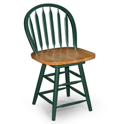 "Arrowback Windsor Swivel Counter Stool 25"", Green"
