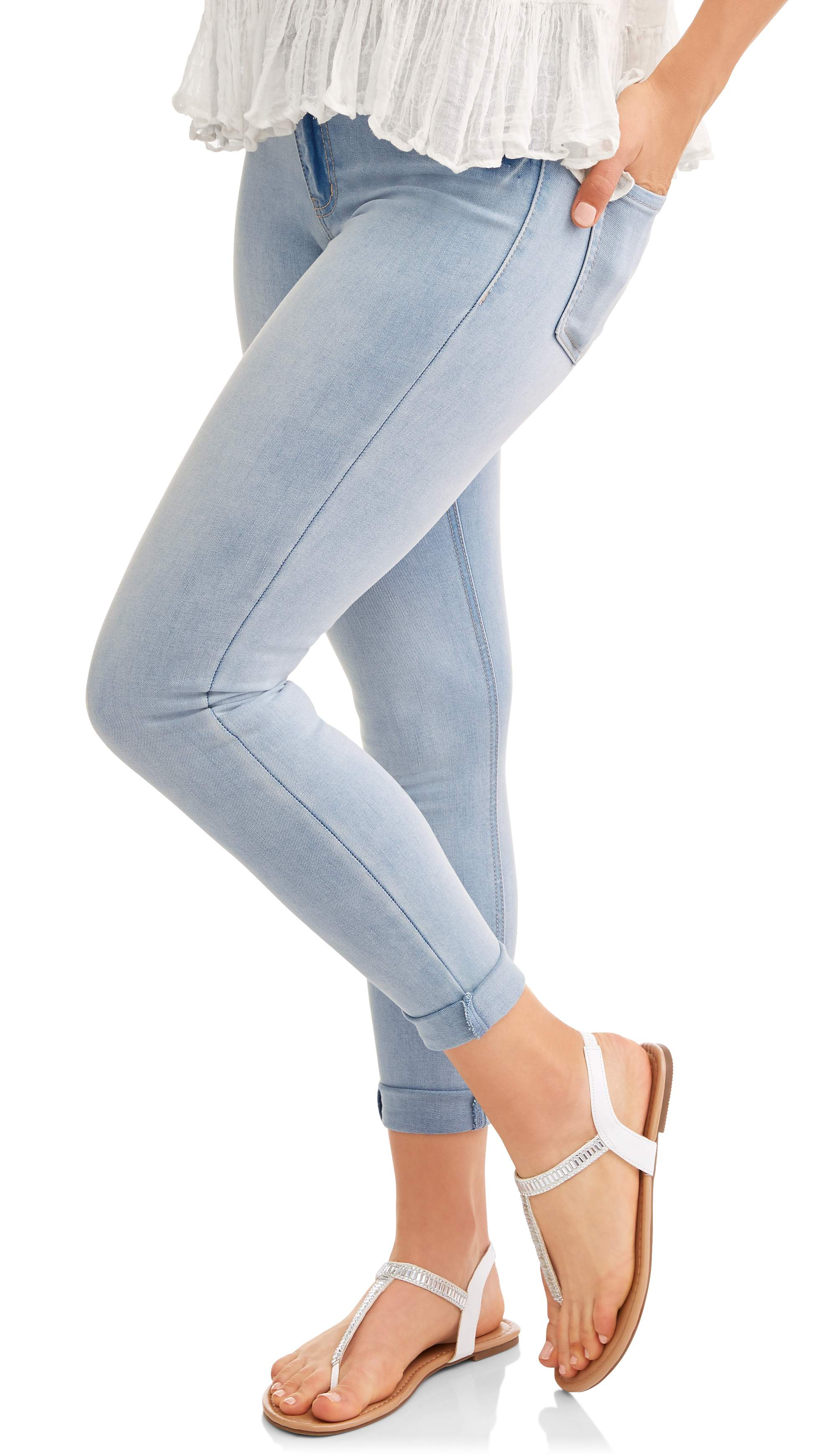 Juniors' High-Rise Rolled Cuff Sculpting Skinny Jeans