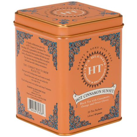 - Harney & Sons, Hot Cinnamon Sunset, Black Tea with Cinnamon, Orange, and Sweet Cloves, 20 Ct